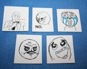 Internet Meme Rage Face Magnets Set of 5 - True Story, No, Cuteness Overload, No Me Gusta, and So Much Win