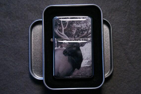 Bull Elk Flip Top Cigarette Lighter