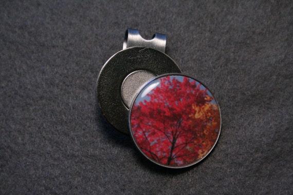 Red Tree Round Metal Golf Ball Marker Hat Clip