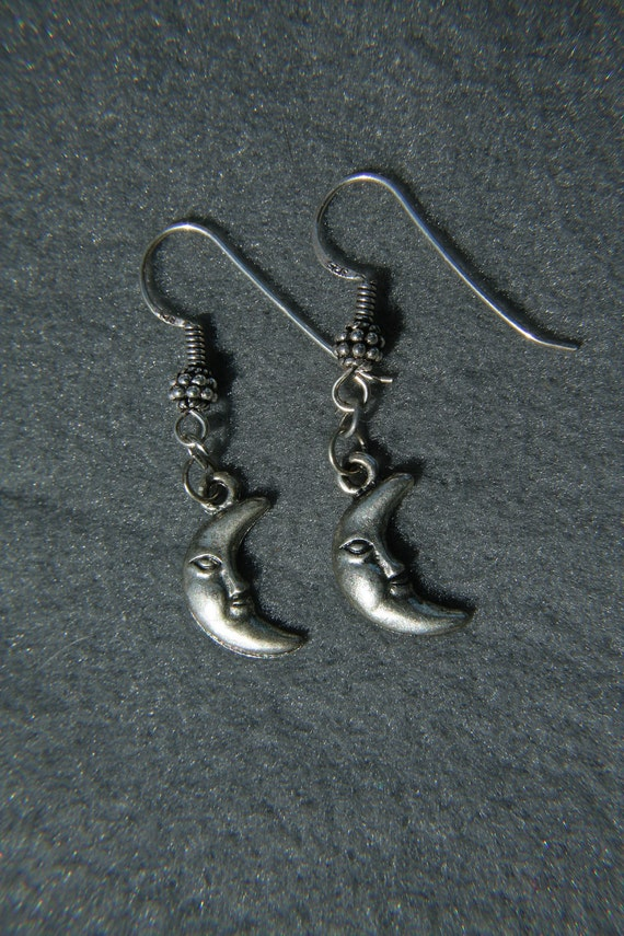 Moon Earrings - Man in the Moon Fishhook Ear Wires