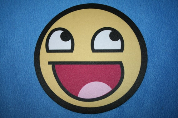 Awesome Smiley Mousepad Or Hot Pad 8 Inch Round