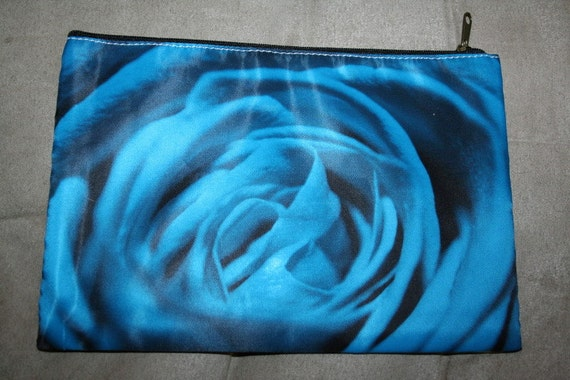 Rose Cosmetic Bag or Pencil Case 9x6 inches -Blue and Yellow Rose Photos