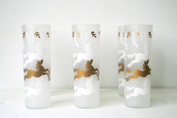 Set of 6 Equestrian Drinking Glasses