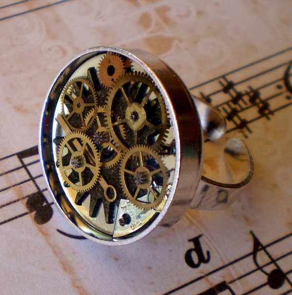 Round Gear Steampunk Ring Watch Parts  Gears Resin 3Dimensional Silver