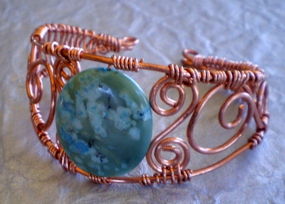 Copper Wire Wrapped Turquoise Cuff Bracelet