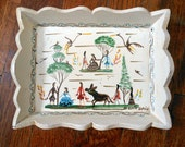 Small Wooden Mexican Tray with Donkey Print