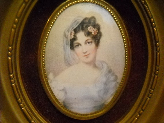THIS ITEM IS RESERVED - Vintage framed print of a young lady, miniature portrait