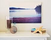 Dreamy Beach 16 x 24 Standout Mounted Fine Art Photograph - nautical summer plum aqua mountains forest water lake outdoors home decor print