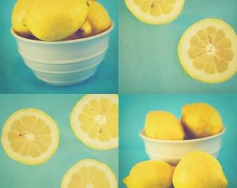 Lemons - Set of 4 Fine Art Photographs - Yellow and Turquoise Kitchen Decor