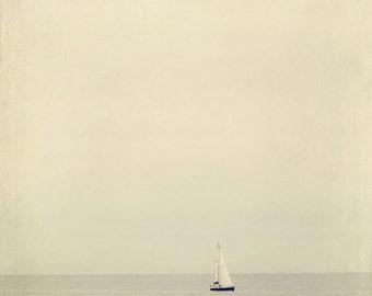 Bon Voyage - Fine Art Photograph - grey gray neutral beige nautical sailboat boat ocean sea summer travel home decor print