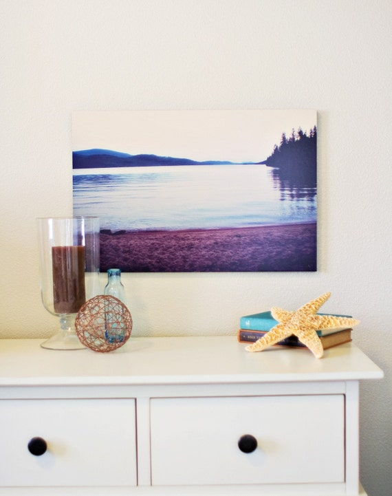 Dreamy Beach 16 x 24 Standout Mounted Fine Art Photograph - nautical summer plum aqua mountains forest water lake outdoors home decor print
