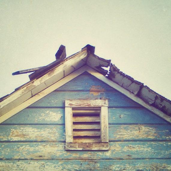Blue Barn - Square Fine Art Photograph - blue rustic barn architecture nostalgic retro wood farm home decor print
