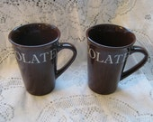 Shonfeld's Tall Hot Chocolate Brown Mugs Set of 2