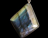SALE! Labradorite Diamond-Shaped Pendant Necklace with Sterling Silver Bail and Leather Cord
