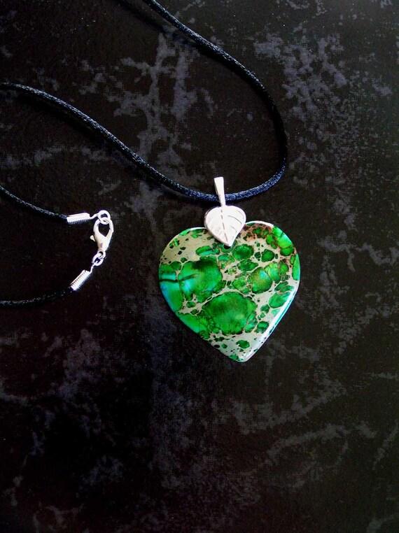 SALE - Green Multi-Color Sea Sediment Jasper Heart Pendant Necklace with Sterling Silver Leaf Bail & Satin Cord