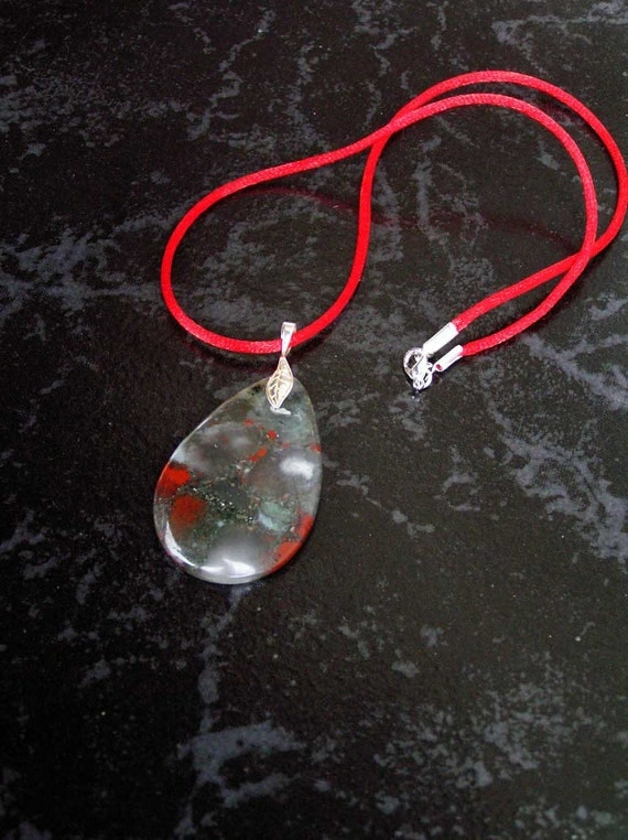 African Bloodstone Teardrop Pendant Necklace with Sterling Silver Leaf Bail on Red Satin Cord