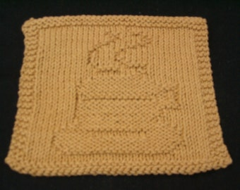 Hand Knit Antique Gold Colored Coffee Cup or Tea Cup Dishcloth or Washcloth