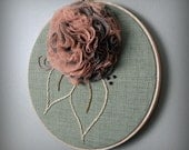floral wall decor, pink and sage