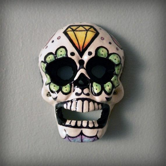sugar skull bottle opener