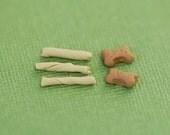 Dollhouse Scale Dog Treats, Bones, Rawhide Chews - Group 1