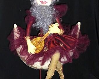 Primitive folk art doll, Christmas Fairy angel doll, LUNESTA