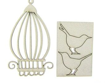 Chipboard Birds with Birdcage 03