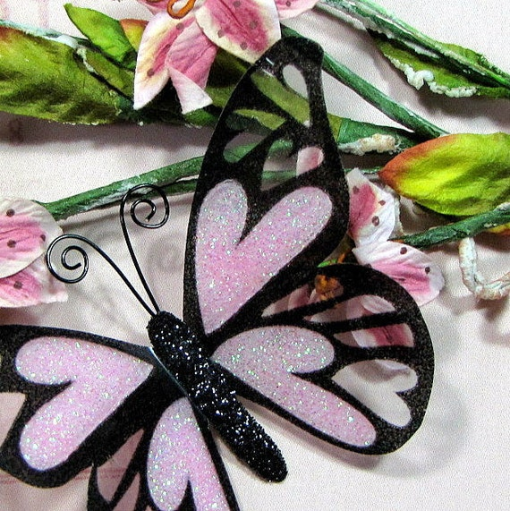 Glass Butterfly Embellishments Love Song In Pink