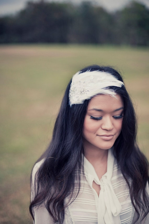 Off-White Bridal Feather Fascinator with Beading
