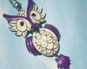 Wise Owl -  Purple and White Jointed Owl Pendant in Silver