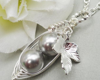 Two Peas In A Pod Silver  Swarovski Pearls Pendant Necklace. For Two Special People. Brides Friends Sisters And Mothers
