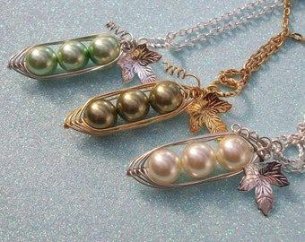 Three Peas In A Pod Pendant - For Brides,Bridesmaids,Family,Best Friends, Sisters Or Mothers. You Choose The Color Swarovski Pearls