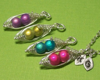 Peas In A Pod Luminscent Miracle Beads 2, 3 Or 4 Peas Choose Your color Bead. All Sterling Silver. Personalized Jewelry