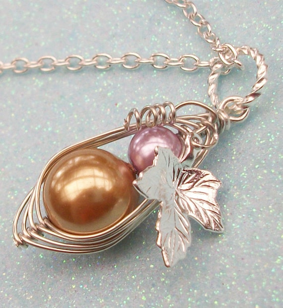 Hand Crafted Birthstone Mother and Baby Wire Wrapped Pearl Silver Pendant Necklace - CHOOSE YOUR COLOR