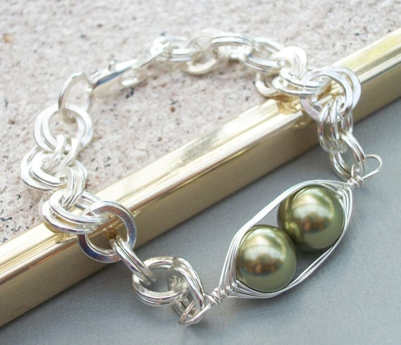 Two Peas In A Pod Chunky Silver Bracelet -  Sterling Silver Choose Your Color Swarovski Pearls