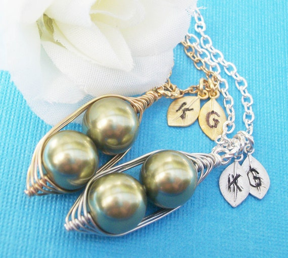 Sweet Peas In A Pod Necklace Swarovski Pearls Handstamped Jewelry - Choose Your Metal Color And Pearl Color