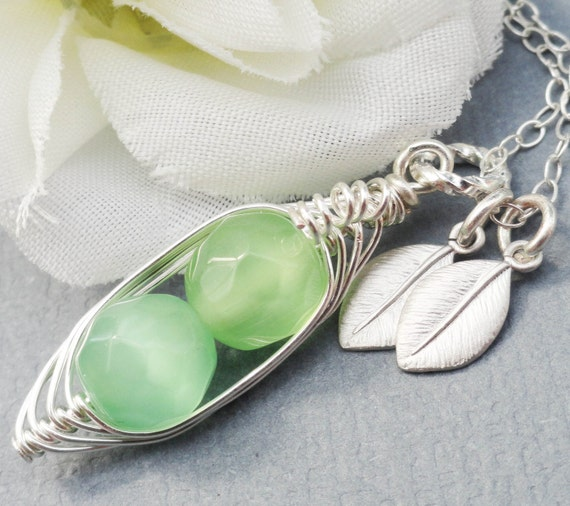 2,3 or 4 Peas In A Pod - Sterling Silver Personalized Peapod. Czech Faceted Stones For Mom, Friends, Brides, Bridesmaids, Shower Gift