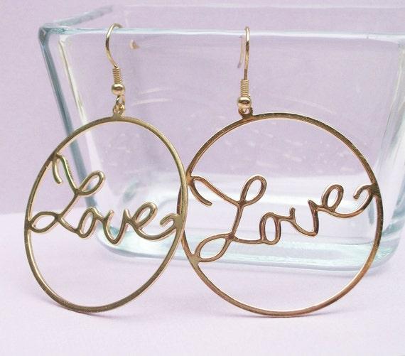 Gold Love Earrings. Golden Heart Handwriting Earrings - LAST PAIR