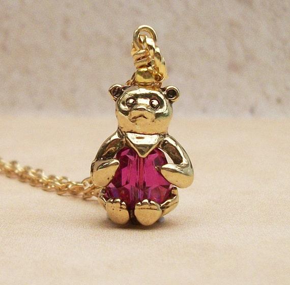 Gold Bear Pendant Necklace Swarovski Crystal Fuchia Bead - ideal Gift