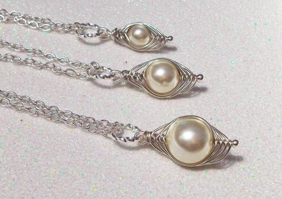 Mom Big Sis Little Sis Individual Peapod Pendants Cream Swarovski Pearls or Choose your Color