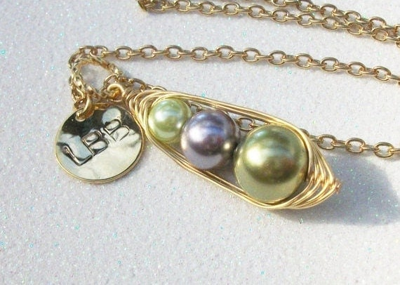 Customized Family Birthstone Pendant with Personalized Initial Disc - 2 or 3 Pearls, You Choose you Color, Initials and Metal