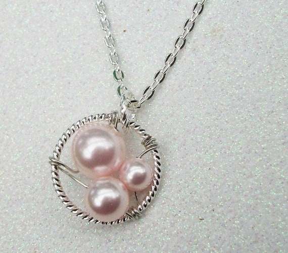 Generations Silver  Pendant Grandma Mommy And Me -  Pink Swarovski Pearls Or Customize Your Color