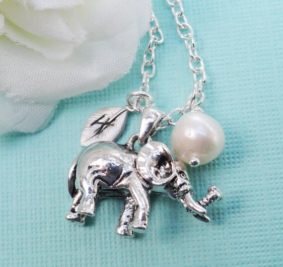 Custom Silver Elephant Necklace  On A Sterling Silver Chain- Handstamped Initial Of Your Choice And Freshwater Pearl