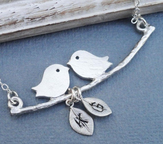 My Little Family - Lovebirds on a Branch with Handstamped Personalized Leaves Sterling Silver