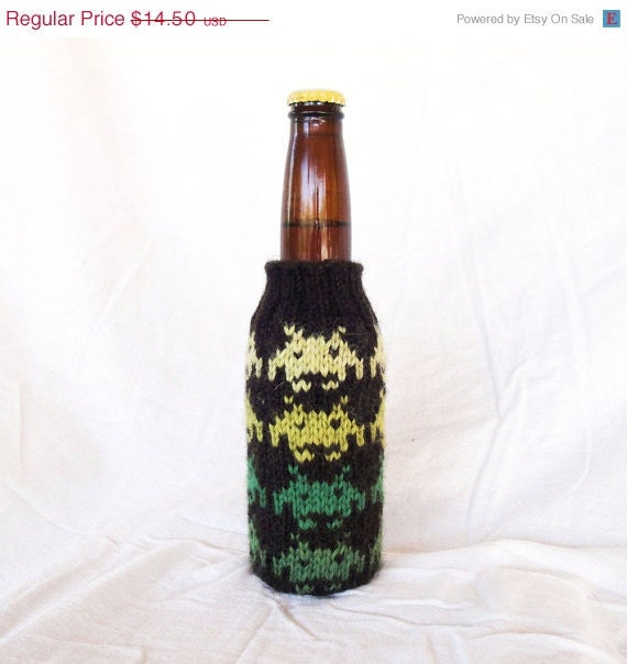 Space Invaders Hand Knit Beer Coozie - Greens on Dark Brown 8-Bit Vintage Video Game Monsters
