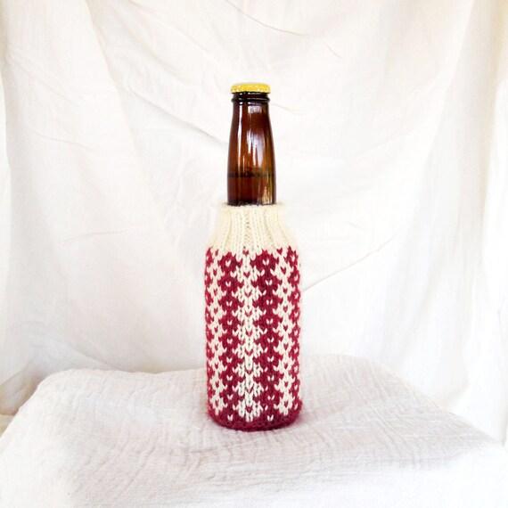 Tile Stripes Hand Knit Beer Koozie - Black Cherry Milkshake