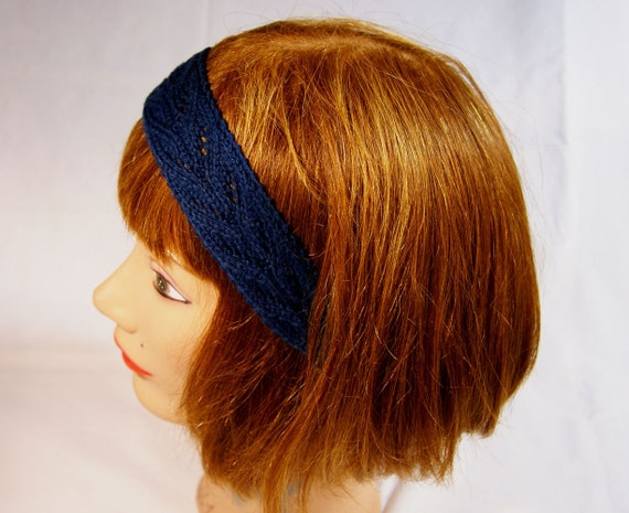 """Navy Blue """"Night Sky"""" Lace Knitted Cotton Headband with Elastic Fit"""