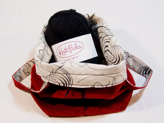 Red Wine Corduroy & Silver Grey and Black Filigree Curls Sock Knitting Project Bag
