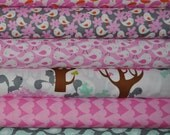 1/2 Yard Set, Get Together Squirrels in Pink by David Walker for Free Spirit Fabrics, (6) 1/2 yard cuts