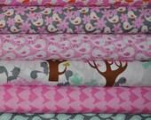 1/2 Yard Set, Get Together Squirrels in Pink by David Walker for Free Spirit Fabrics, (6) 1/2 yard cuts