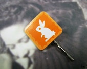 Bouncy Bunny Bobby Pin - Orange and White